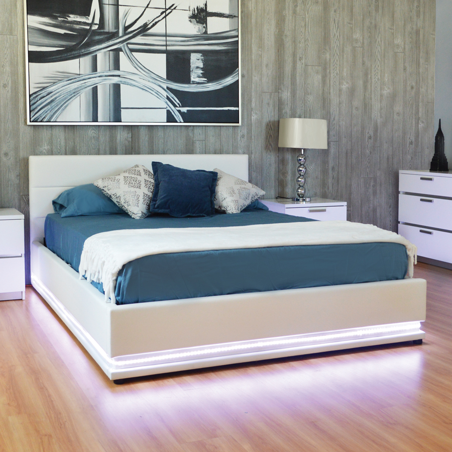 Storage Led Light Queen Bed PU White Color with LED Lights in the base